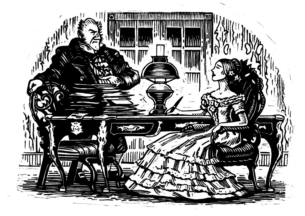 Mr.Tulkinghorn confronts Lady Dedlock about the secret that will ruin her life.